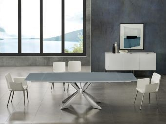 ICON dining table in gray glass with polished stainless steel base