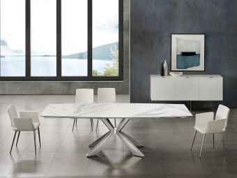 ICON dining table in white marbled porcelain top on glass with polished stainless steel base