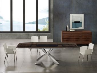 ICON dining table in smoked glass with polished stainless steel base