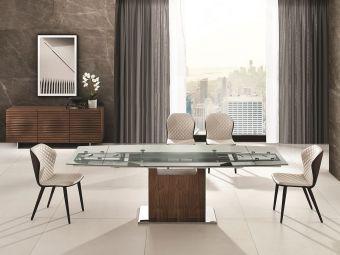 OLIVIA dining table in clear glass with walnut veneer base