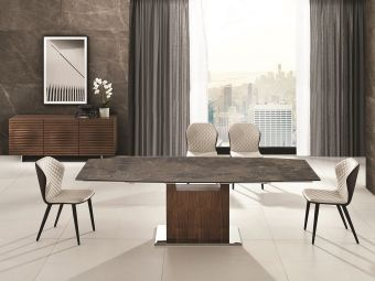 OLIVIA dining table in brown marbled porcelain top with walnut veneer base