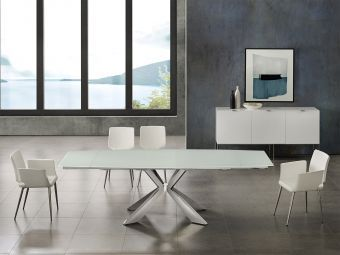 ICON Motorized Dining Table in White Glass