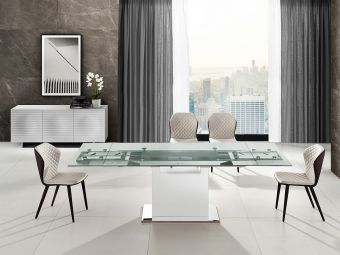 ✅ OLIVIA motorized dining table in clear glass with high gloss white lacquer base. | VivaSalotti.com | pic