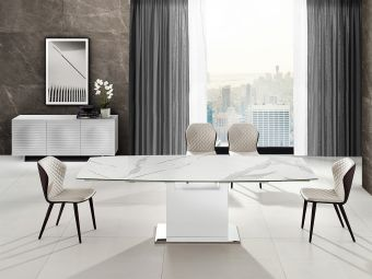 ✅ OLIVIA motorized dining table in white marbled porcelain top on glass with high gloss white lacquer base. | VivaSalotti.com | pic