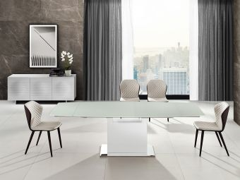 ✅ OLIVIA motorized dining table in white glass with high gloss white lacquer base. | VivaSalotti.com | pic