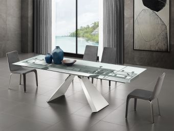 ✅ STANZA motorized dining table in clear glass with polished stainless steel base. | VivaSalotti.com | pic