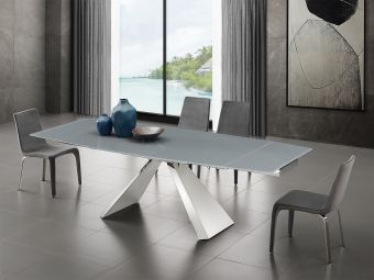 ✅ STANZA motorized dining table in gray glass with polished stainless steel base. | VivaSalotti.com | pic