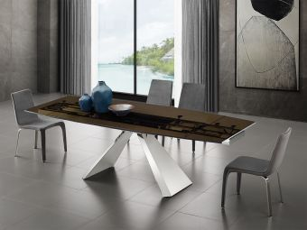 ✅ STANZA motorized dining table in smoked glass with polished stainless steel base. | VivaSalotti.com | pic