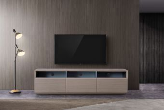 """TV023 Contemporary TV Stand for TVs up to 70"""", Grey Veneer"""