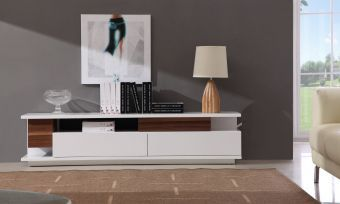 TV Stand 061 in White High Gloss & Walnut