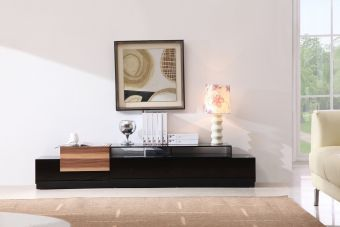 TV Stand 072 in Black High Gloss & Walnut