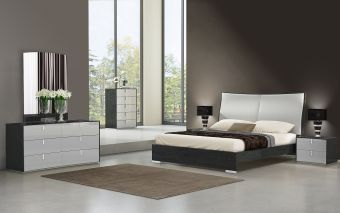 ✅ Vera Modern Ecoleather Panel Bedroom Set, Grey | VivaSalotti.com | pic
