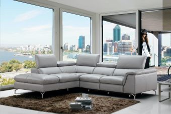 Viola Premium Leather Sectional in Left Hand Facing Chaise