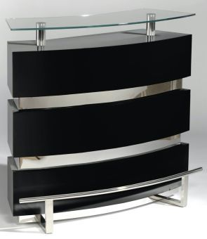 Xenia Black Contemporary Channeled Front Bar