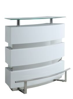 Xenia White Contemporary Channeled Front Bar
