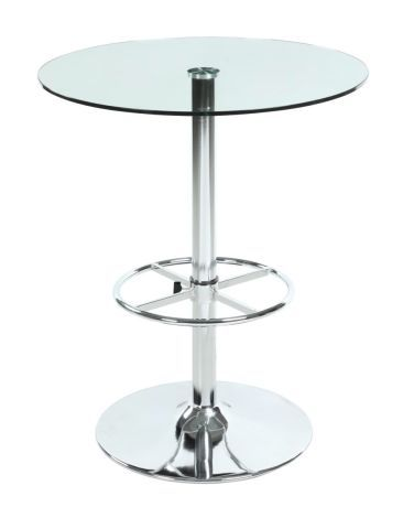 Round Glass Top Pub Table w/ Full Ring Footrest