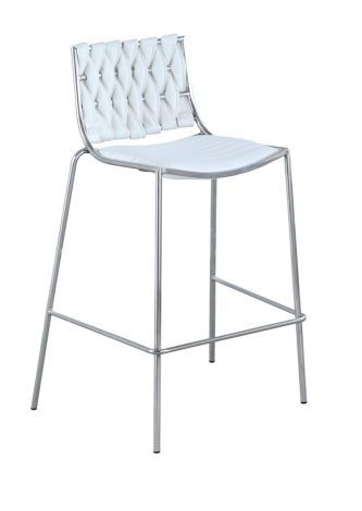 Taylor White Contemporary Stackable Counter Stool w/ Weave Back