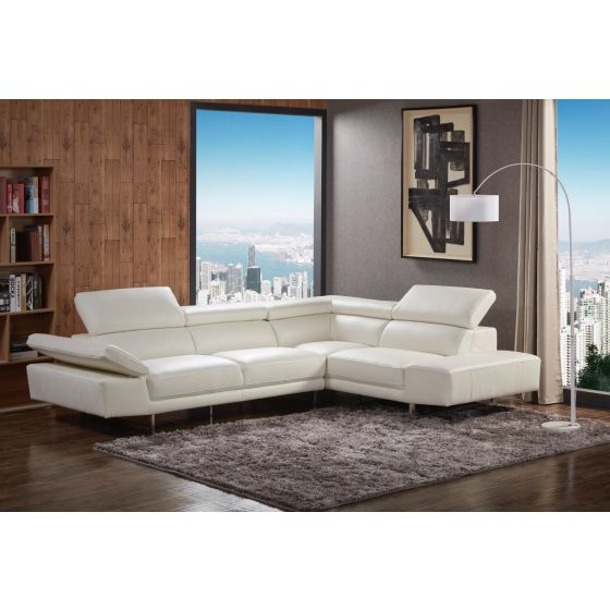✅ 1717 Italian Leather Right Hand Facing Sectional, White | VivaSalotti.com | pic6