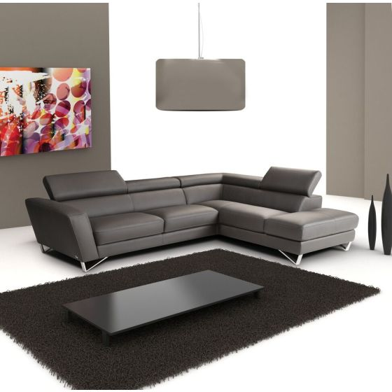✅ Sparta Italian Leather Right Hand Facing Sectional, Grey | VivaSalotti.com | pic1