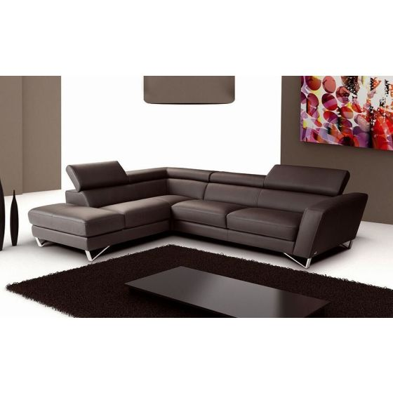 ✅ Sparta Italian Leather Left Hand Facing Sectional, Chocolate | VivaSalotti.com | pic1
