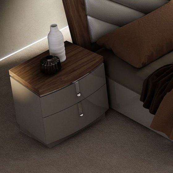 ✅ The Napa Modern Wood Veneer Nightstand, Walnut/Grey | VivaSalotti.com | pic