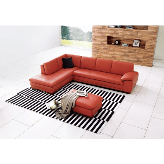 ✅ 625 Italian Leather Left Hand Facing Sectional, Pumpkin | VivaSalotti.com | pic1