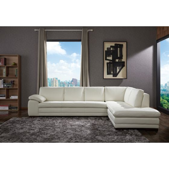 ✅ 625 Italian Leather Right Hand Facing Sectional, White | VivaSalotti.com | pic2
