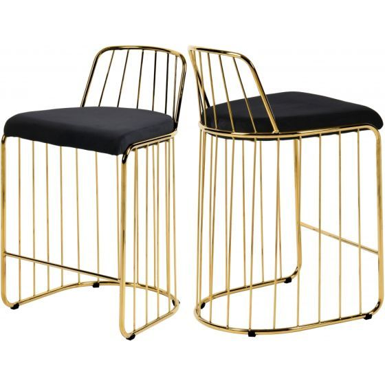 ✅ Gio Velvet Counter Stool, Black/Gold | VivaSalotti.com | pic6