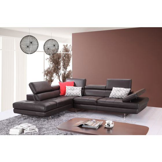 ✅ A761 Italian Leather Sectional, Left Hand Facing, Coffee | VivaSalotti.com | pic2