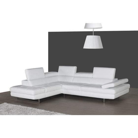 ✅ A761 Italian Leather Sectional, Left Hand Facing, White | VivaSalotti.com | pic2