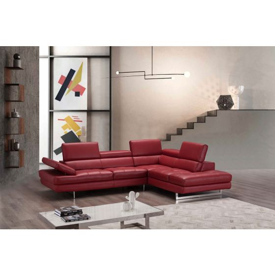 ✅ A761 Italian Leather Sectional, Right Hand Facing, Red   VivaSalotti.com   pic5