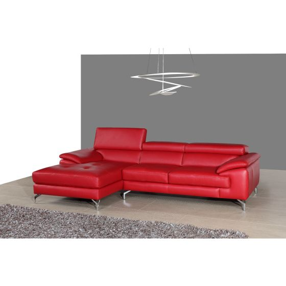 ✅ A973B Italian Leather Mini Sectional, Left Hand Facing, Red | VivaSalotti.com | pic1