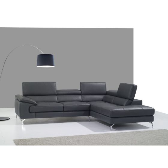 ✅ A973 Premium Leather Sectional, Right Hand Facing, Grey | VivaSalotti.com | pic2