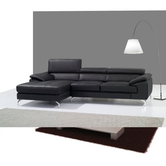 ✅ A973B Italian Leather Mini Sectional, Left Hand Facing, Black | VivaSalotti.com | pic1