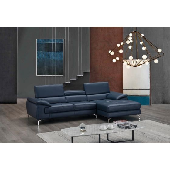 ✅ A973B Italian Leather Mini Sectional, Right Hand Facing, Blue | VivaSalotti.com | pic5