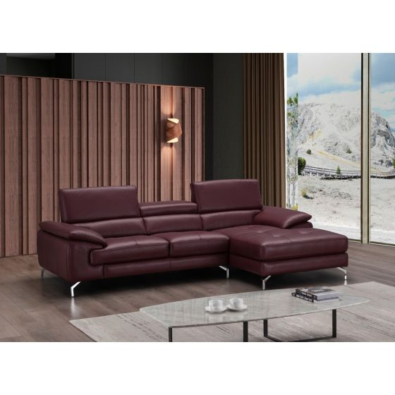 ✅ A973B Italian Leather Mini Sectional, Right Hand Facing, Maroon | VivaSalotti.com | pic5