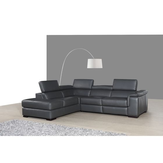 ✅ Agata Premium Leather Left Hand Facing Sectional, Slate Grey | VivaSalotti.com | pic2