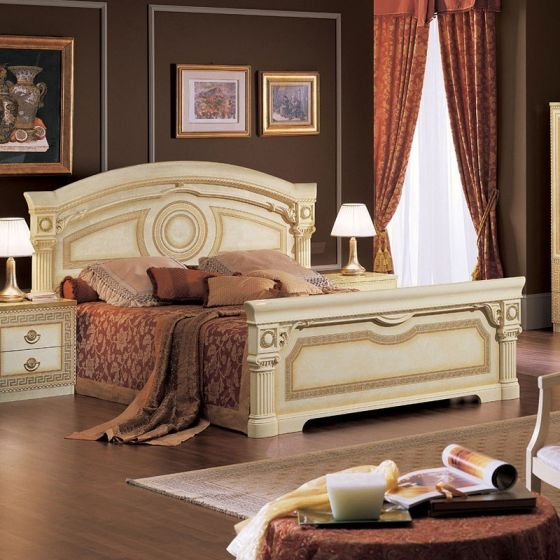 ✅ Aida Classic King Bed by ESF, Ivory and Gold | VivaSalotti.com | pic3