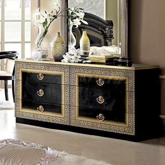 ✅ Aida Classic Double Dresser by ESF, Black and Gold | VivaSalotti.com | pic7