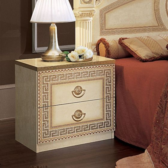 ✅ Aida Classic Nightstand by ESF, Ivory and Gold | VivaSalotti.com | pic3