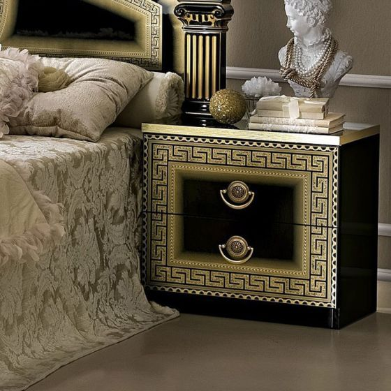 ✅ Aida Classic Nightstand by ESF, Black and Gold | VivaSalotti.com | pic8