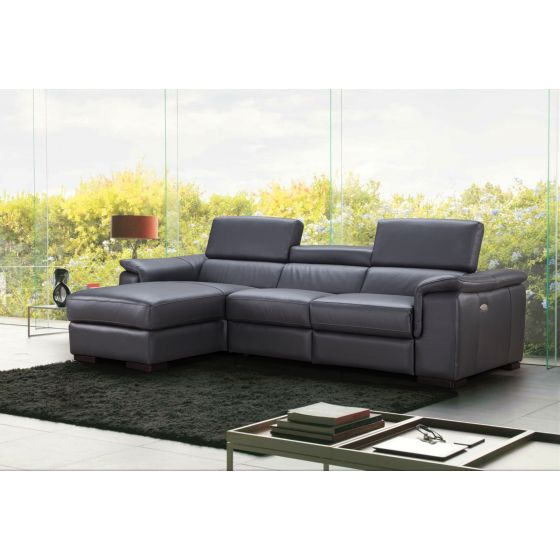 ✅ Allegra Premium Leather Left Hand Facing Sectional, Slate Grey | VivaSalotti.com | pic5