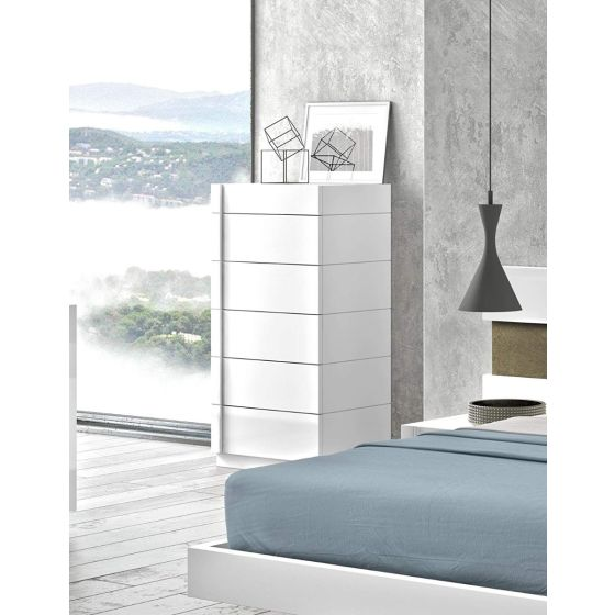 ✅ Amora Premium Wood Veneer Chest, White Lacquer/Chrome | VivaSalotti.com | pic2
