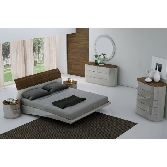 ✅ Amsterdam Panel Bedroom Set, Walnut/Light Grey by J&M Furniture | VivaSalotti.com | pic