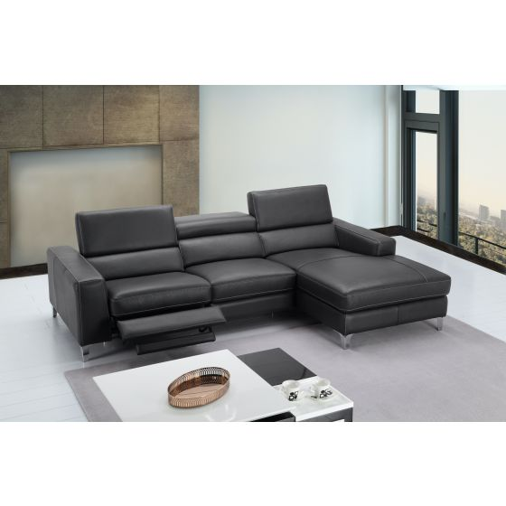 ✅ Ariana Premium Leather Right Hand Facing Sectional, Grey | VivaSalotti.com | pic4