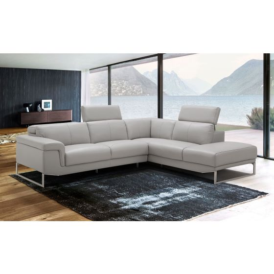 ✅ Athena Leather Right Hand Facing Sectional, Light Grey | VivaSalotti.com | pic1