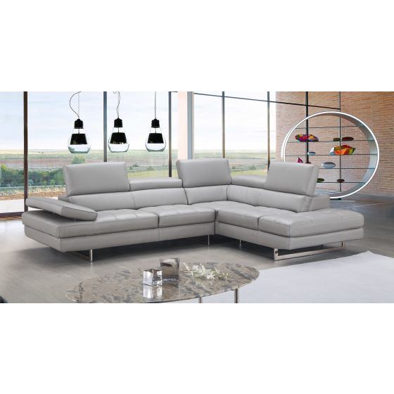 ✅ A761 Italian Leather Sectional, Right Hand Facing, Light Grey | VivaSalotti.com | pic