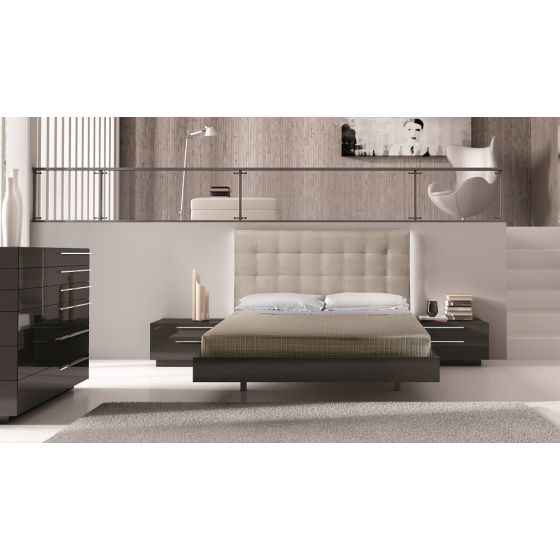 ✅ Beja Premium LED Platform Bedroom Set, Black/Beige | VivaSalotti.com | pic1