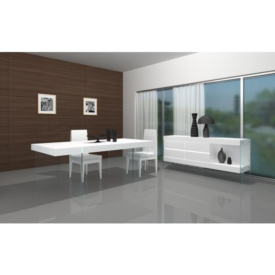 ✅ Cloud Modern Rectangular Dining Table, White High Gloss | VivaSalotti.com | pic2