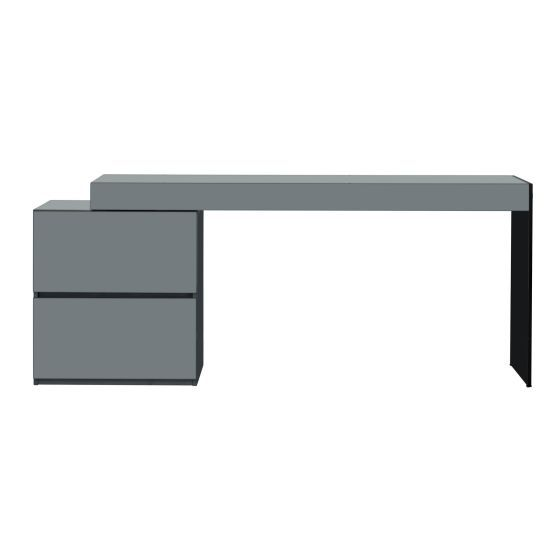 ✅ Coach Modern Office Desk with Storage Drawers, High Gloss Grey | VivaSalotti.com | pic